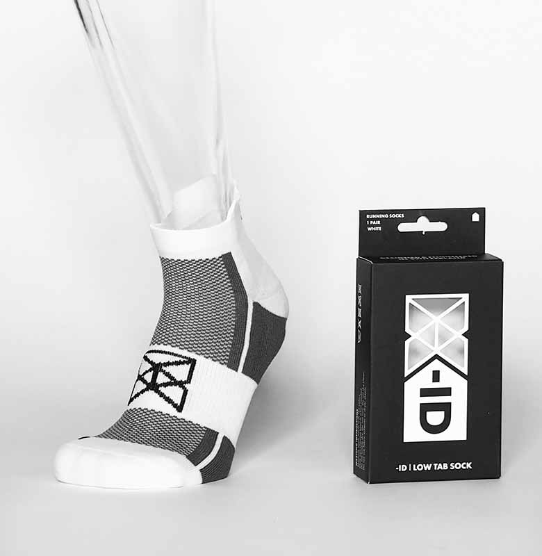 -ID Low Tab Running Sock WHITE